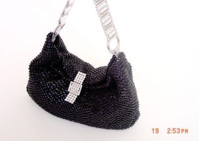 Black Beaded With Silver And Rh